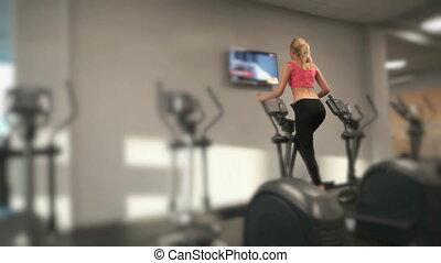 atleta, blondynka, zaręczony, sala gimnastyczna