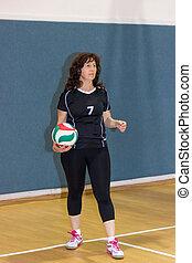 atleta, bola, tocando