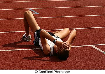 atleta, caído