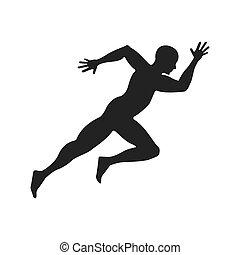 atleta, carattere, correndo, icona