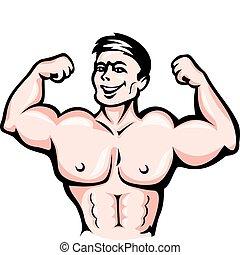 atleta, com, músculos
