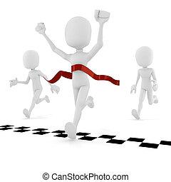 atleta, competición, plano de fondo, blanco, 3d, hombre