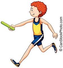 atleta, correndo, relè, uomo