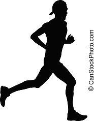 atleta, corridore, in, berretto
