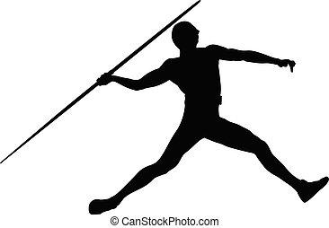 atleta, człowiek, oszczep, rzucić