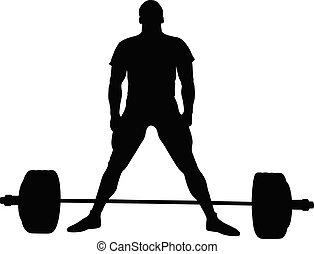 atleta, deadlift, powerlifter, levantar, exercício, antes de