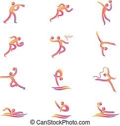 atleta, deporte, juego, competición, icono