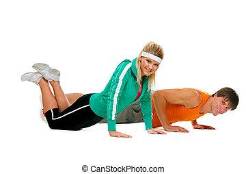 atleta, do góry, odizolowany, stosowność, przeć, exerciser, dziewczyna, samiec, biały, zrobienie
