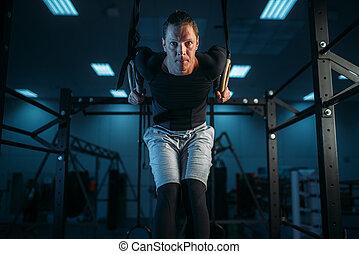 atleta, entrenamiento, anillos, ejercicio, gimnastic