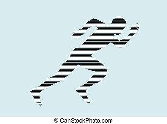 atleta, executando, silueta, sprinter, corredor, início