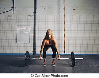 atleta, executar, deadlift, ajustar, femininas