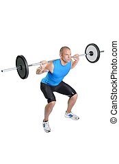 atleta, exercitar, muscular, fundo, branca, homem
