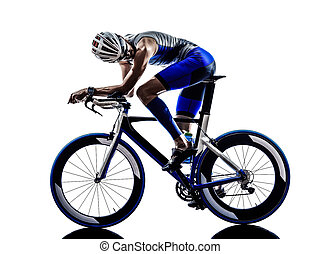 atleta, ferro, triathlon, uomo, ciclista, bicycling