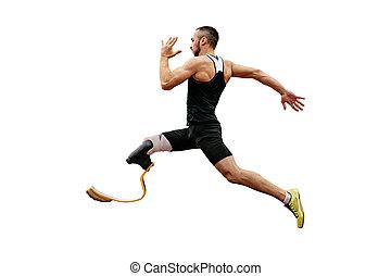 atleta, fisicamente, protético, incapacitado, pernas