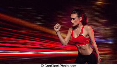 atleta, forte, determinado, femininas