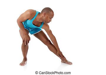 atleta, giovane, americano, attraente, uomo africano
