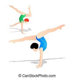 atleta, giovane, illustrazione