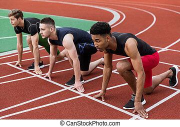 atleta, grupo, multiethnic