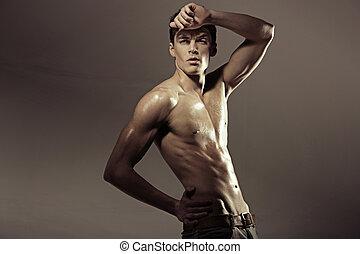 atleta, hal-naked, muscular, hombre