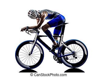 atleta, hierro, triatlón, hombre, ciclista, el montar en ...