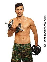 atleta, homem jovem, exercícios