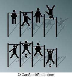 atleta, horizontal, vector., barra