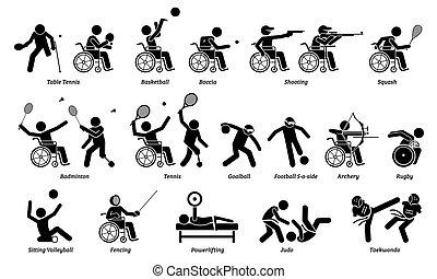atleta, icons., handicappato, sport, bastone, interno, invalido, figure, giochi