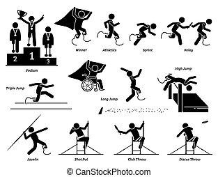 atleta, icons., lekkoatletyka, upośledzony, ślad, wtykać, pole, niepełnosprawny, figury, igrzyska