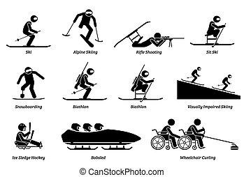 atleta, inverno, icons., sport, handicappato, bastone, invalido, figure, giochi