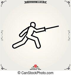 atleta, isolado, ilustração, vetorial, fundo, ícone