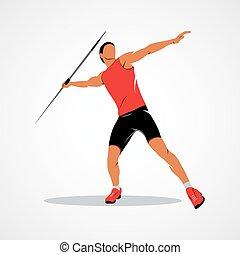 atleta, javelin, lançamento