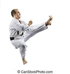 atleta, kaderov, karategi, salto, chutando, expedir, desempenho