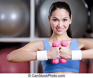 atleta, kobieta, trening, z, dumbbells