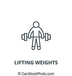 atleta, lineal, concepto, símbolo, señal, vector, pesas, icono, línea, fuerte, elevación, contorno