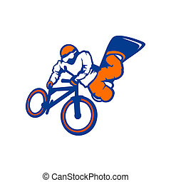 atleta, marcar, bicicleta, conduzir, sinal, snowboard