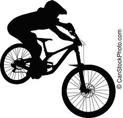 atleta, mtb, in discesa, bicicletta