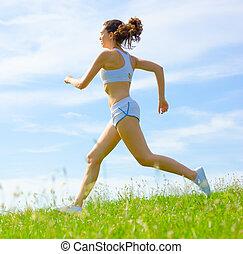 atleta, mujer, maduro