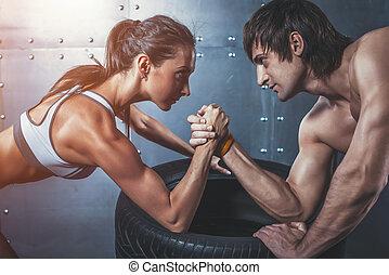 atleta, muscular, desportistas, homem mulher, com, mãos...