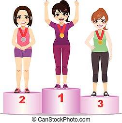 atleta, pódio, mulheres