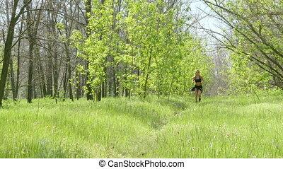 atleta, park, wyścigi, dziewczyna