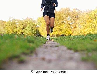 atleta, parque, hembra que activa