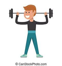 atleta, pesas, elevación