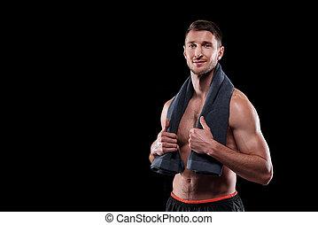 atleta, pescoço, muscular, shirtless, sucedido, seu, toalha, masculino jovem