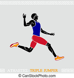atleta, potrójny, skoczek