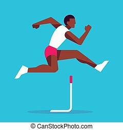atleta, prąd, płotek, skokowy
