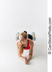 atleta, practicar, prensa, rubio, aumentar, codos