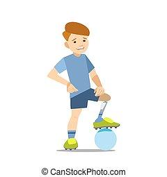 atleta, protesi, bambino, calcio, paralympic, ball.