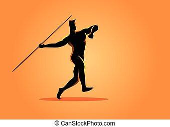 atleta, silueta, javelin, ilustração, lançamento