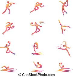 atleta, sport, gioco, concorrenza, icona