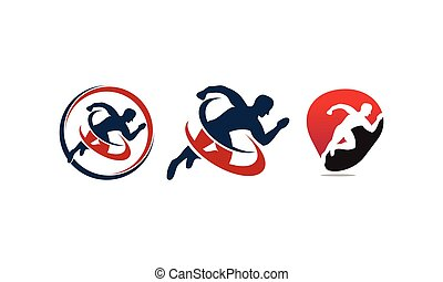 atleta, sport, set, sagoma